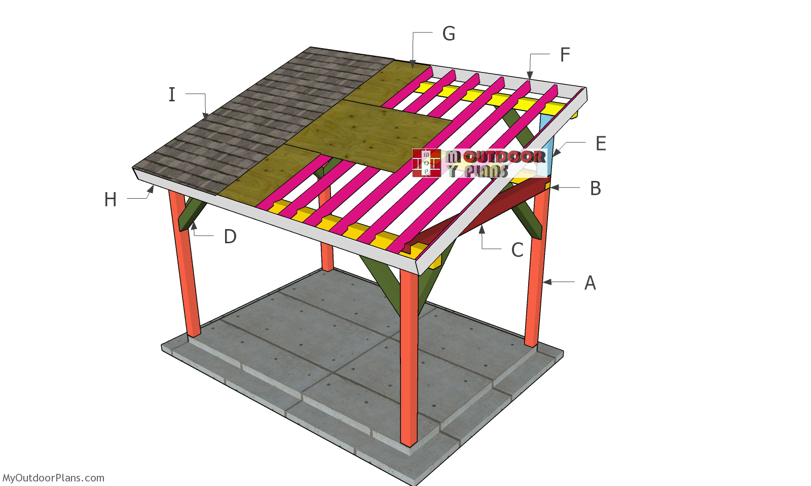 10x14 Outdoor Pavilion Lean to Roof Plans