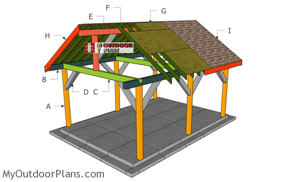 14x18 Backyard Pavilion - Gable Roof Plans