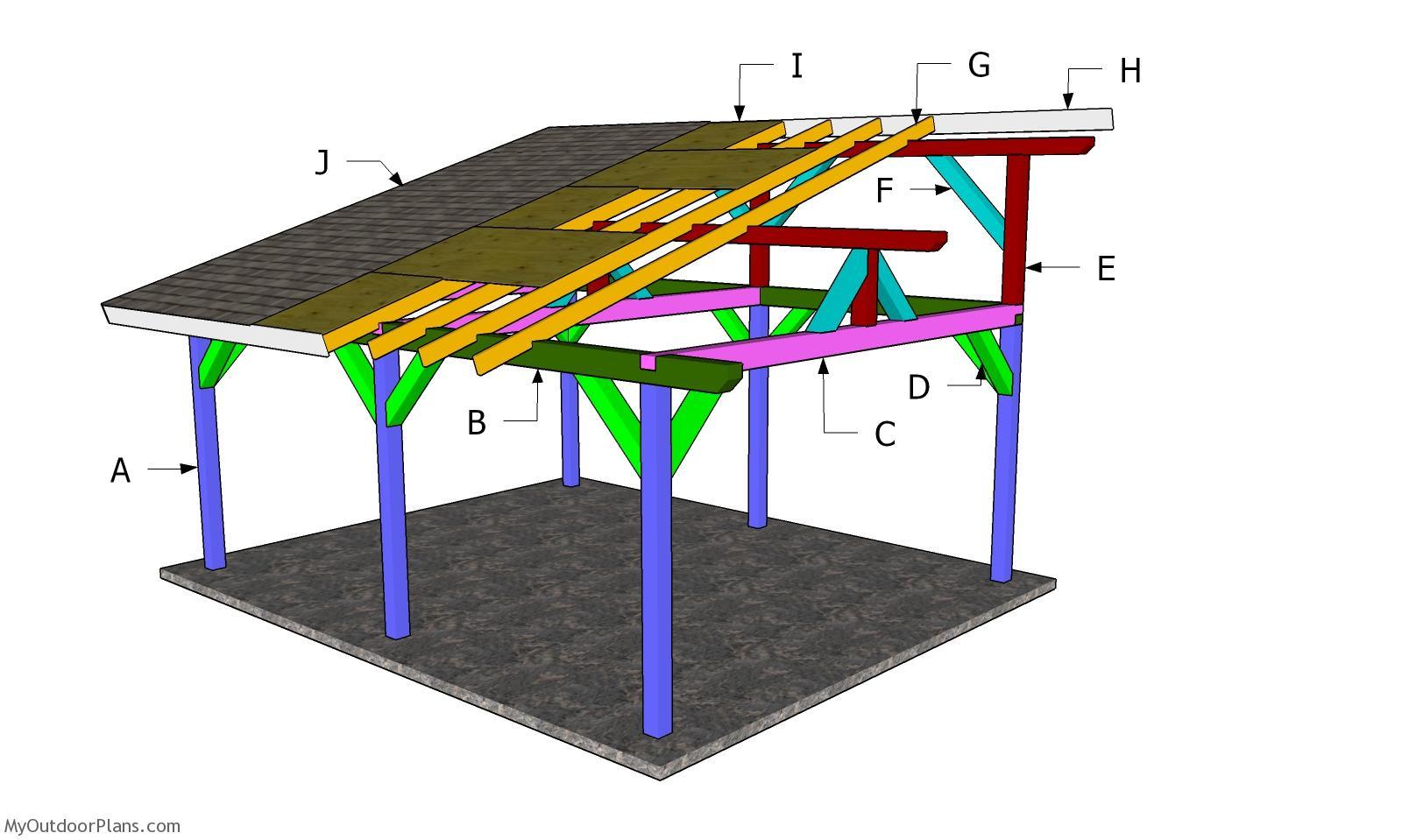16x18 Lean to Pavilion Roof Plans