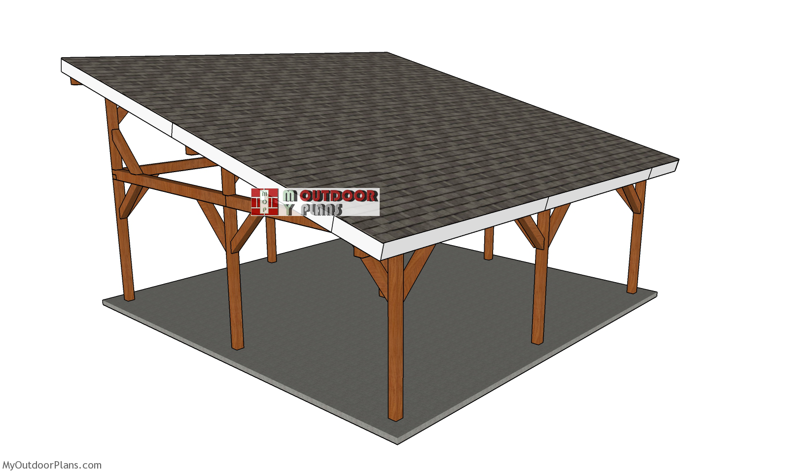 24x24 Lean to Pavilion - Free DIY Plans