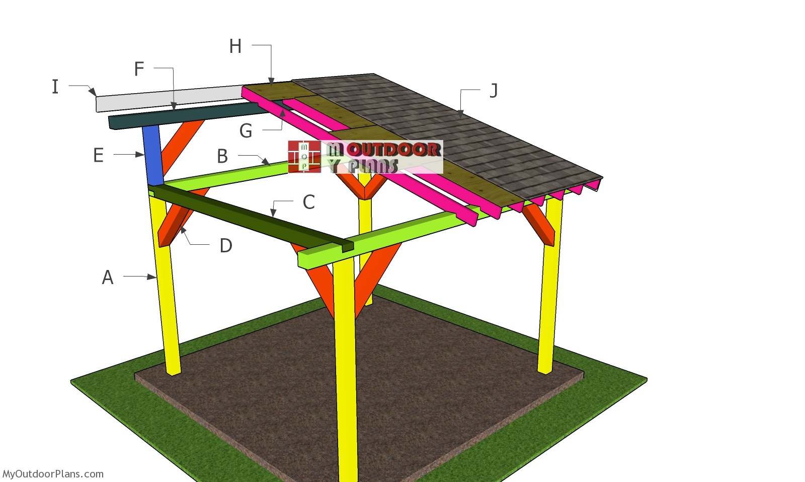 12x12 Lean to Pavilion Roof Plans