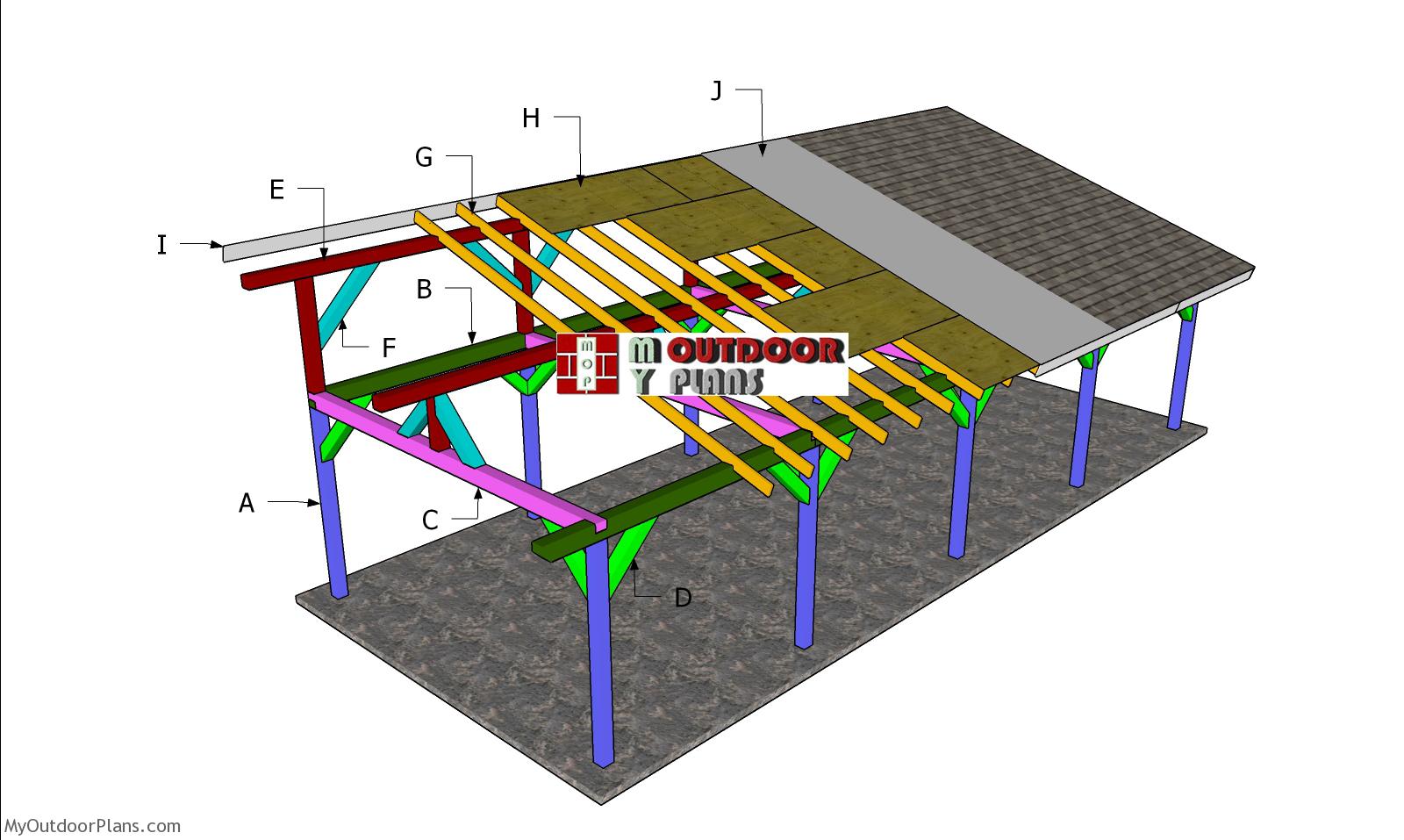 16x40 Lean to Pavilion Roof Plans