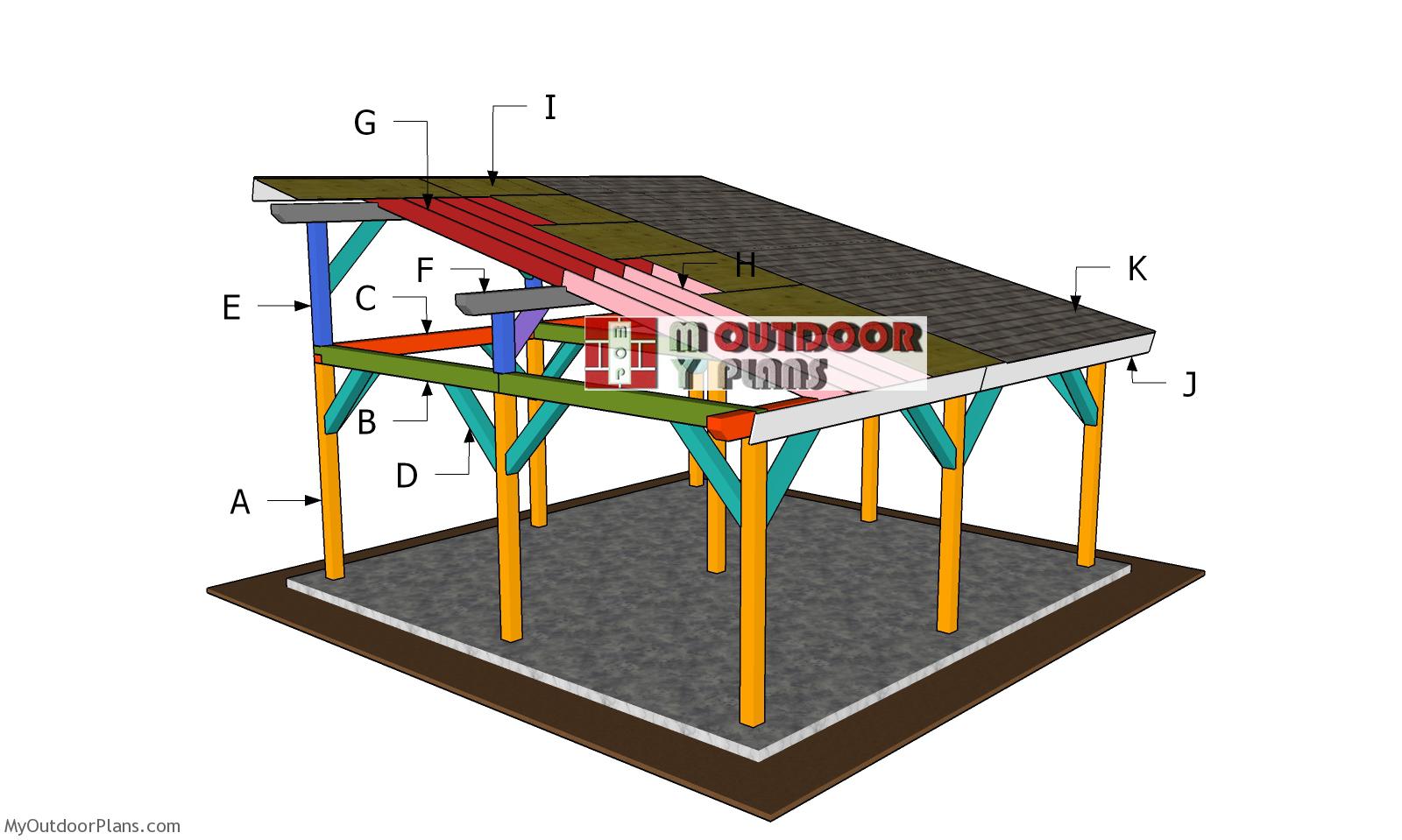 20x20 Lean to Pavilion Roof Plans