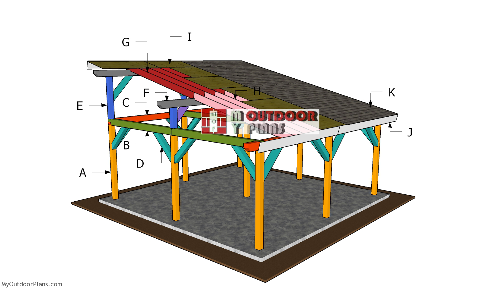 20x20 Lean to Pavilion Roof Plans