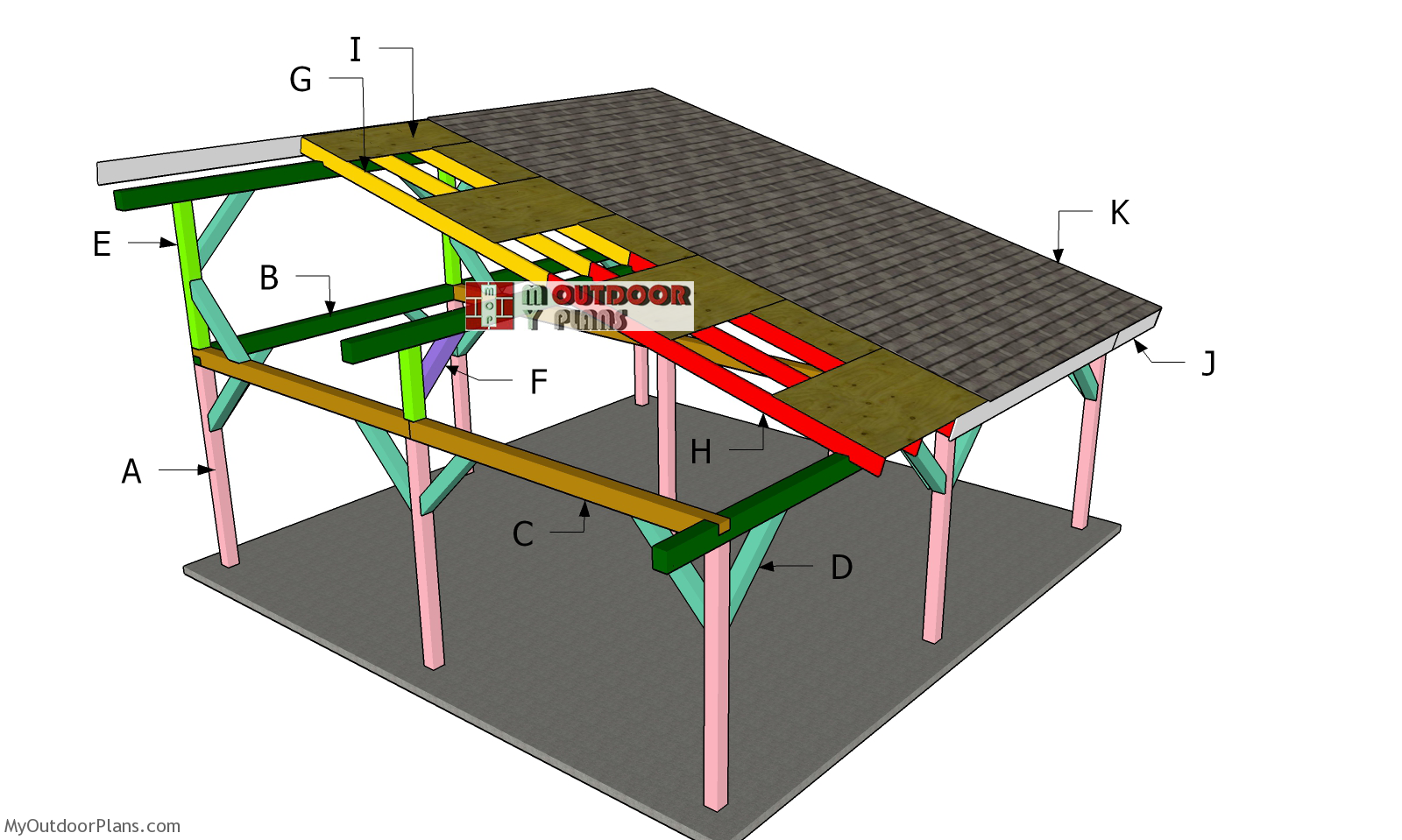 24x24 Lean to Pavilion Roof Plans