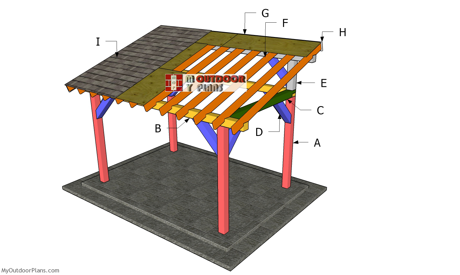 8x12 Lean to Pavilion Roof Plans