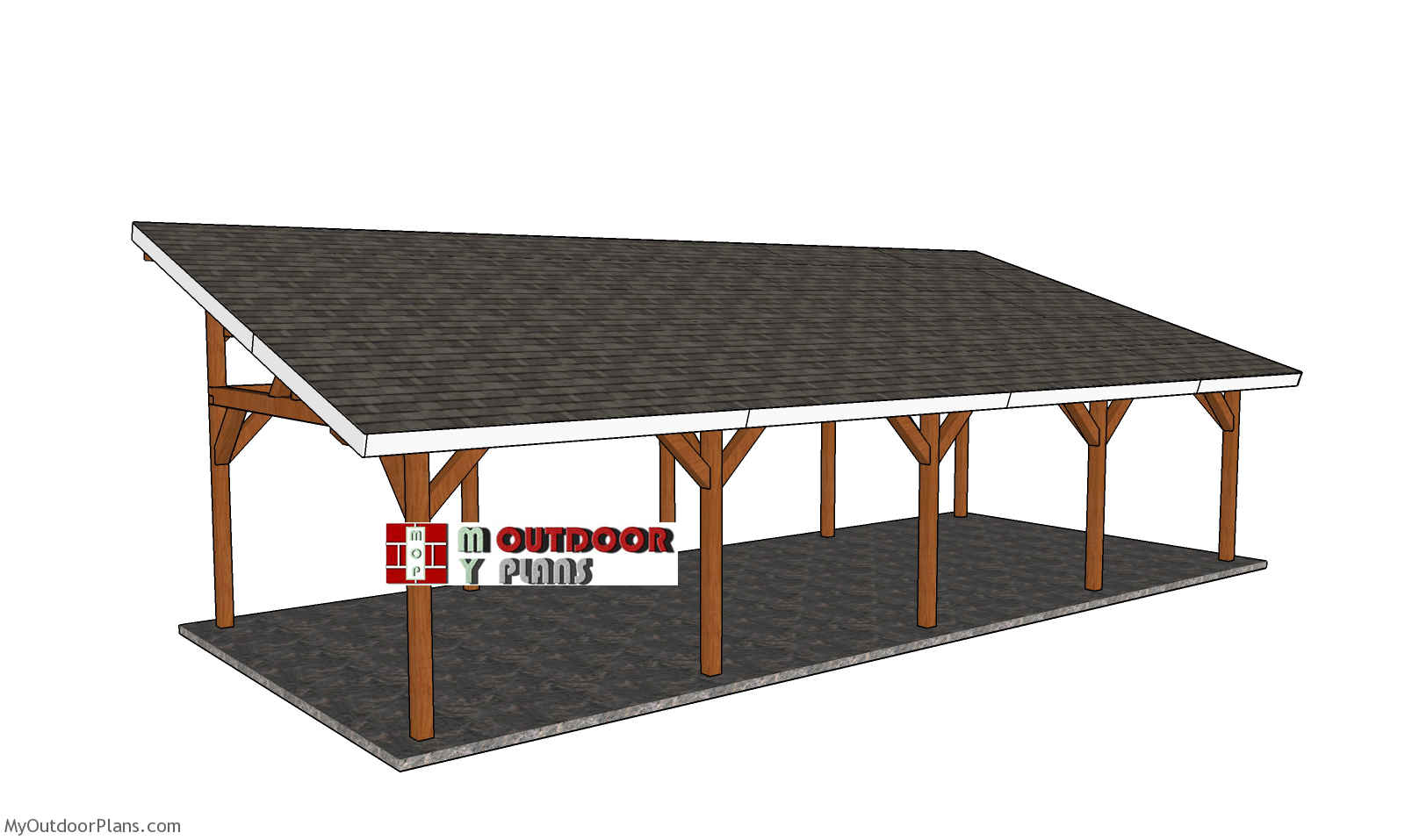16x40 Lean to Pavilion Plans - Free DIY Tutorial