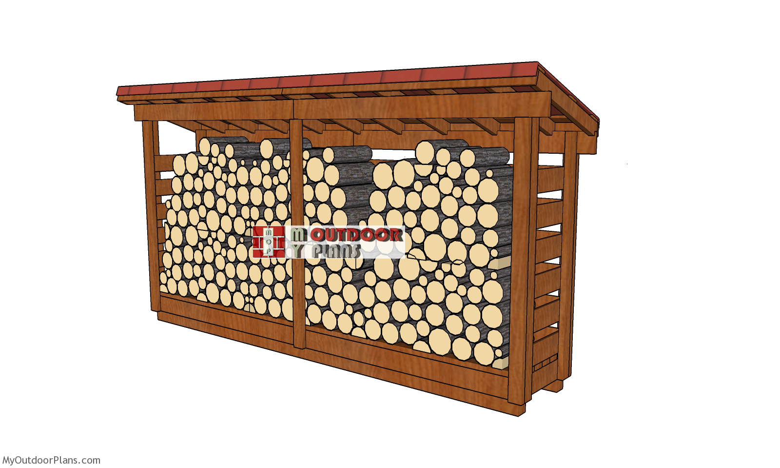 1 Cord 2x12 Firewood Shed Plans