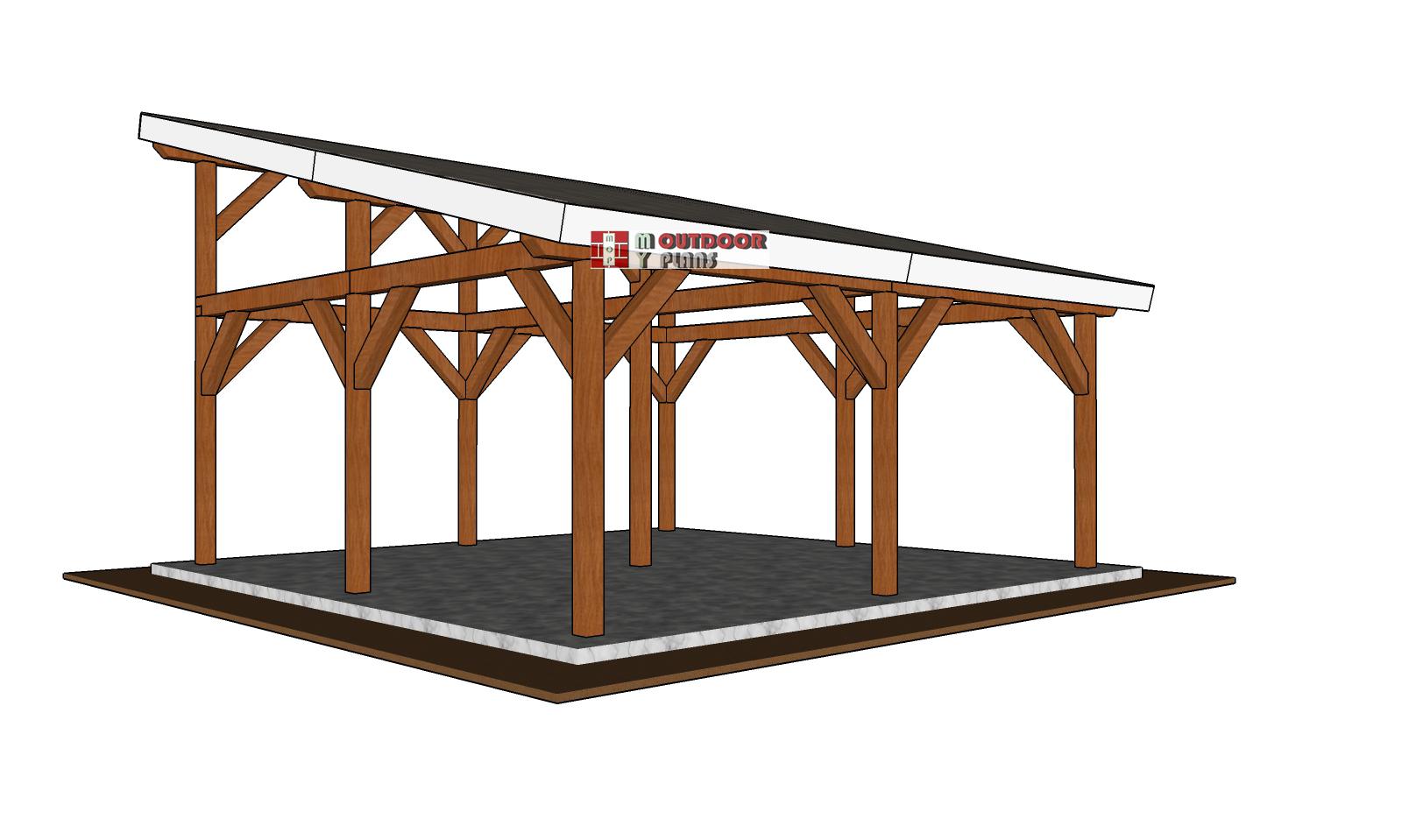 20x20 Lean to Pavilion - Free DIY Plans