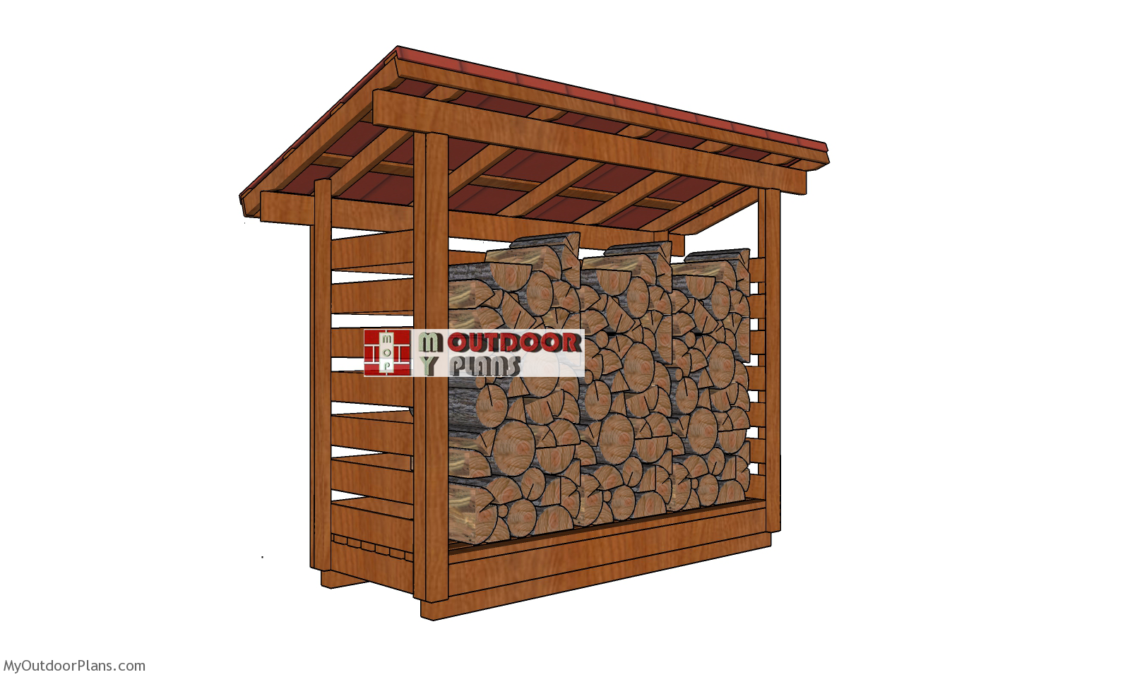 1 Cord 3x10 Firewood Shed Plans