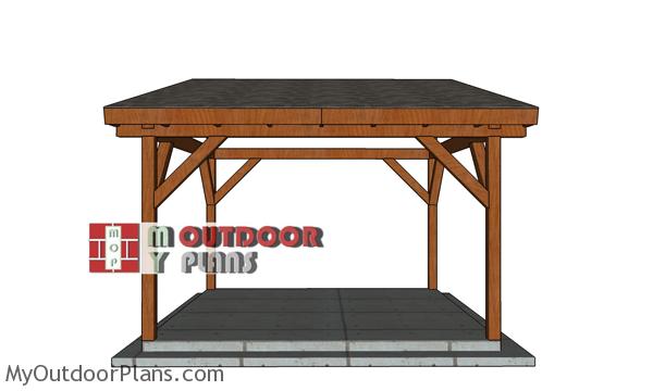 14x14-Lean-to-Pavilion-Plans---front-view