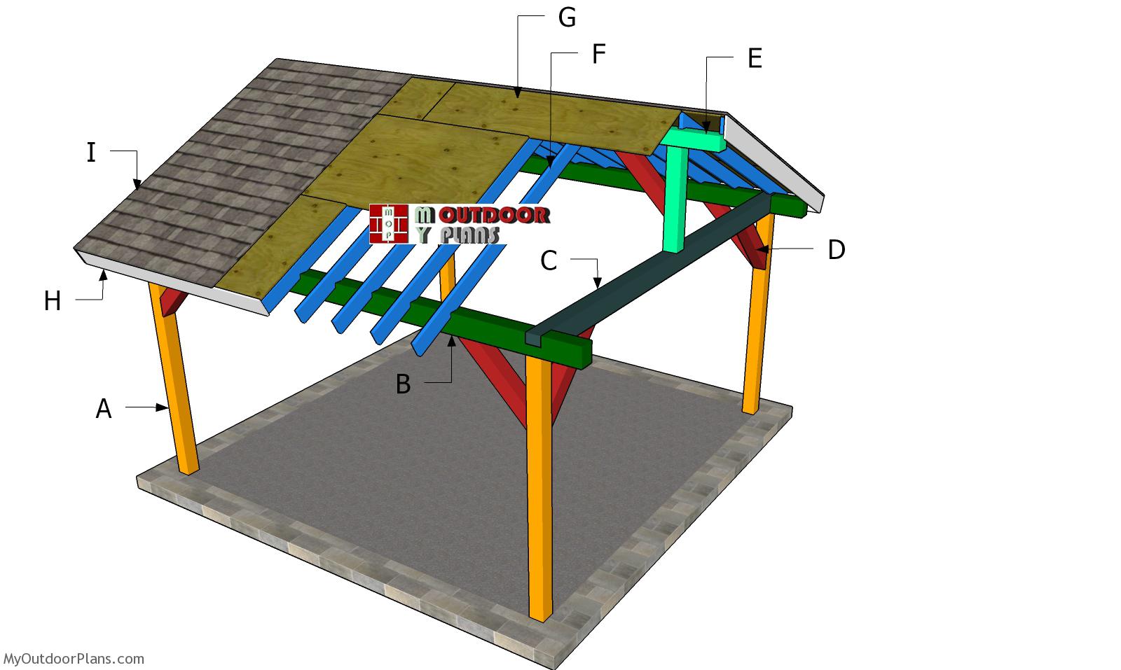 15x15 Pavilion - Gable Roof Plans