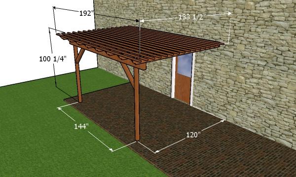 10x12 attached pergola plans - dimensioons