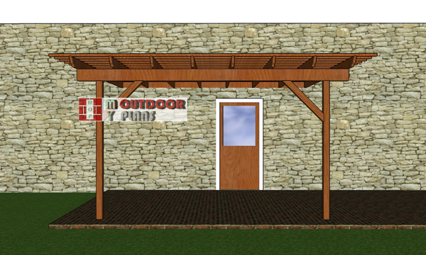 10x12-attached-pergola-plans---front-view