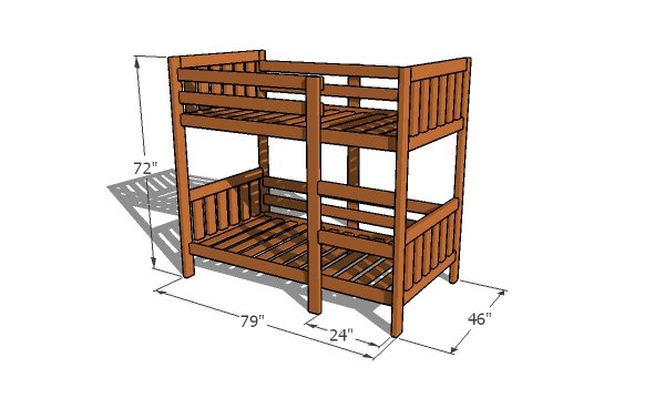 2x4 Bunk Bed Plans - overall dimensions