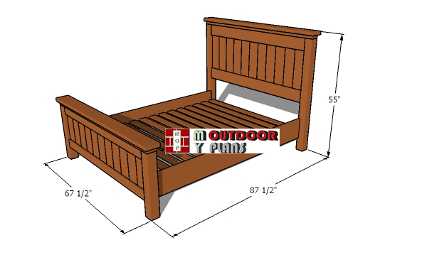 Queen-size-bed-plans---overall-dimensions