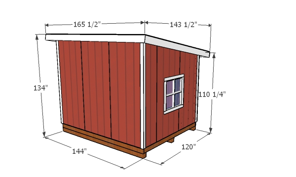 10x12 Lean to shed - overall dimensions