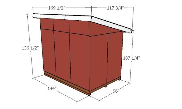 8x12 Shed - Lean to shed - overall dimensions